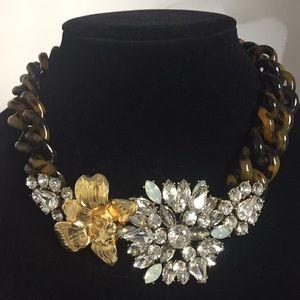 J Crew necklace rhinestone flower  tortoiseshell